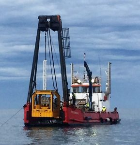 Subsea CPT set up on the back of work boat, Gulf of St Vincent, South Australia